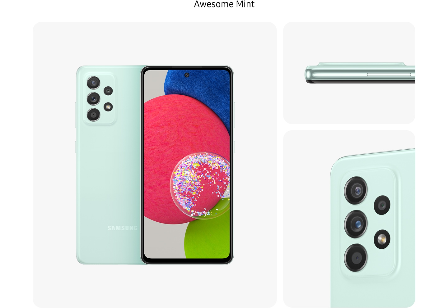 4. MintGalaxy A52s 5G in Awesome Mint, seen from multiple angles to show the design: rear, front, side and close-up on the rear camera.