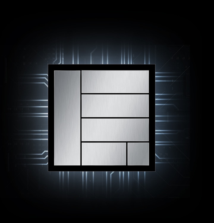 Illustration of a processor chip, surrounded by glowing lines that represent the circuitry inside the phone.