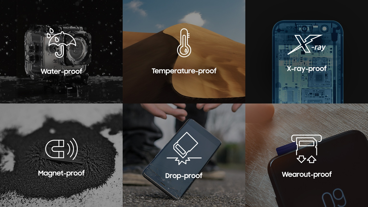 Six proofs that microSD support. Water, Temperature, X-Ray, Magnet, Drop, Wearout proofs are supported.