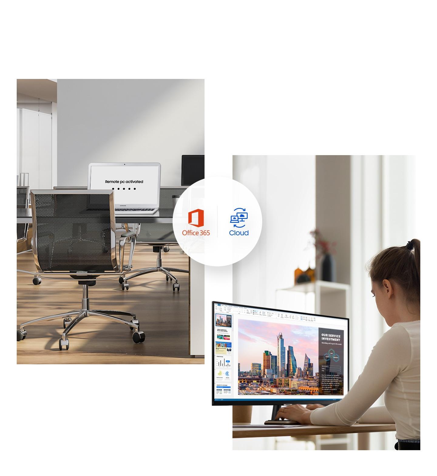 Máy tính xách tay văn phòng hiển thị Remote PC activated. Một người phụ nữ ở nhà sử dụng màn hình. Office 365 và Cloud được hiển thị ở giữa.