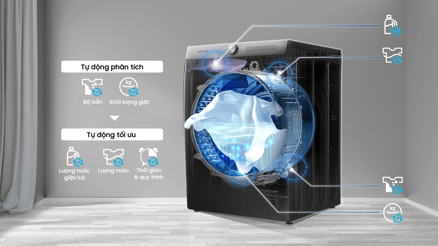 The location of the wash load, water level, soil level, and dust level sensors are shown on the transparent washer.
