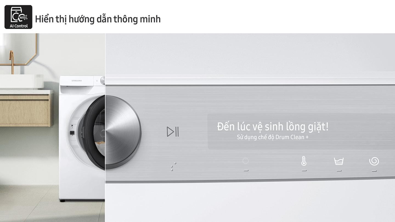 Hai bộ máy giặt và máy sấy được đặt khác nhau ở hai không gian sinh hoạt riêng biệt. Mỗi tập hợp được liên kết với một đường màu xanh lam.