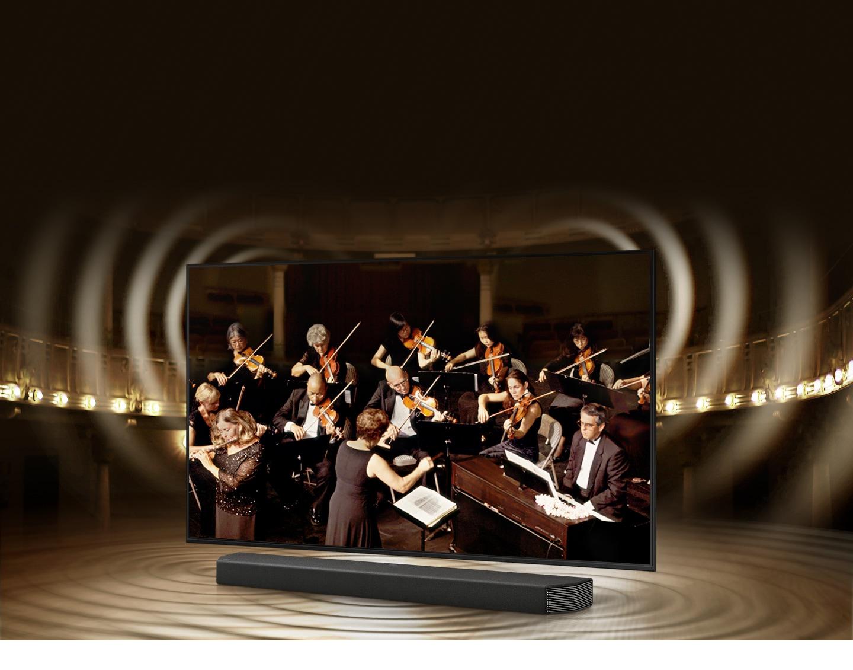 Đồ họa sóng âm thanh mô phỏng từ TV và loa thanh thể hiện công nghệ Q Symphony khi chúng phát âm thanh cùng nhau.