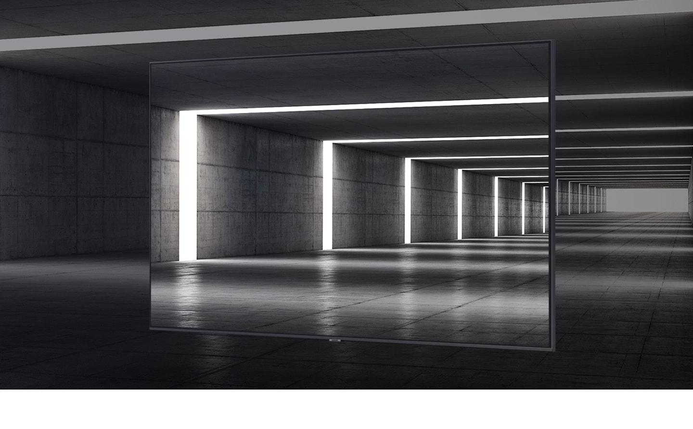 Thiết kế 3 cạnh không viền của AU7000 có thể thấy trên đỉnh góc nghệ thuật của nội thất đường hầm.