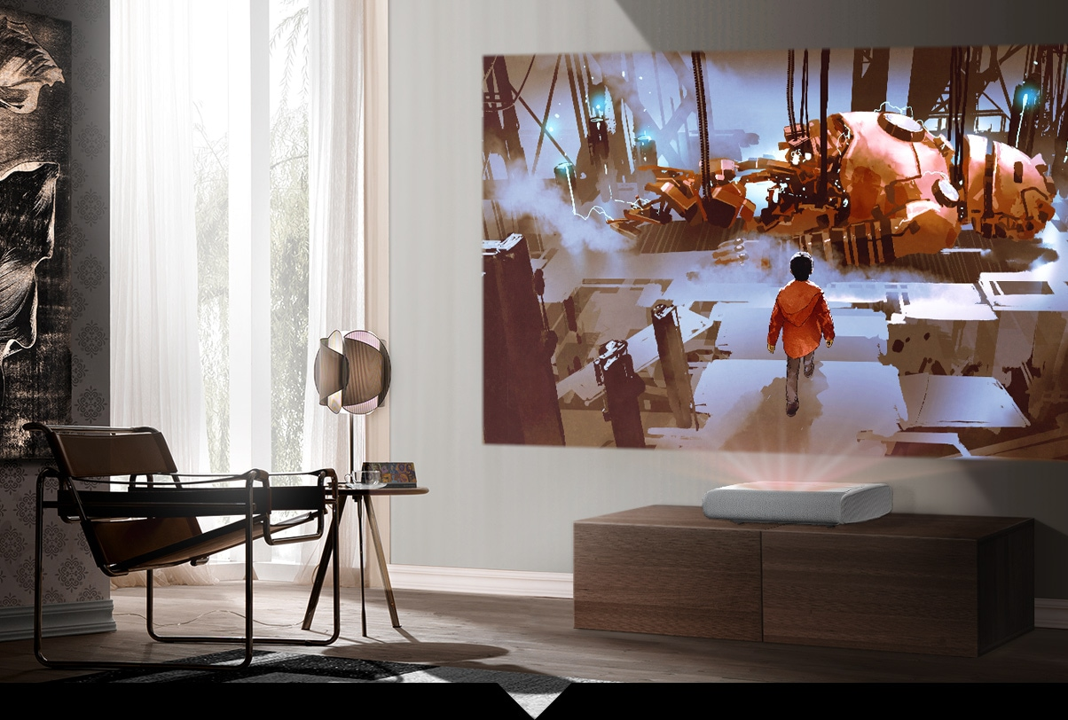 The Premiere 2800 lumen projector for daylight viewing is playing vividly an animation movie without any outside influence.