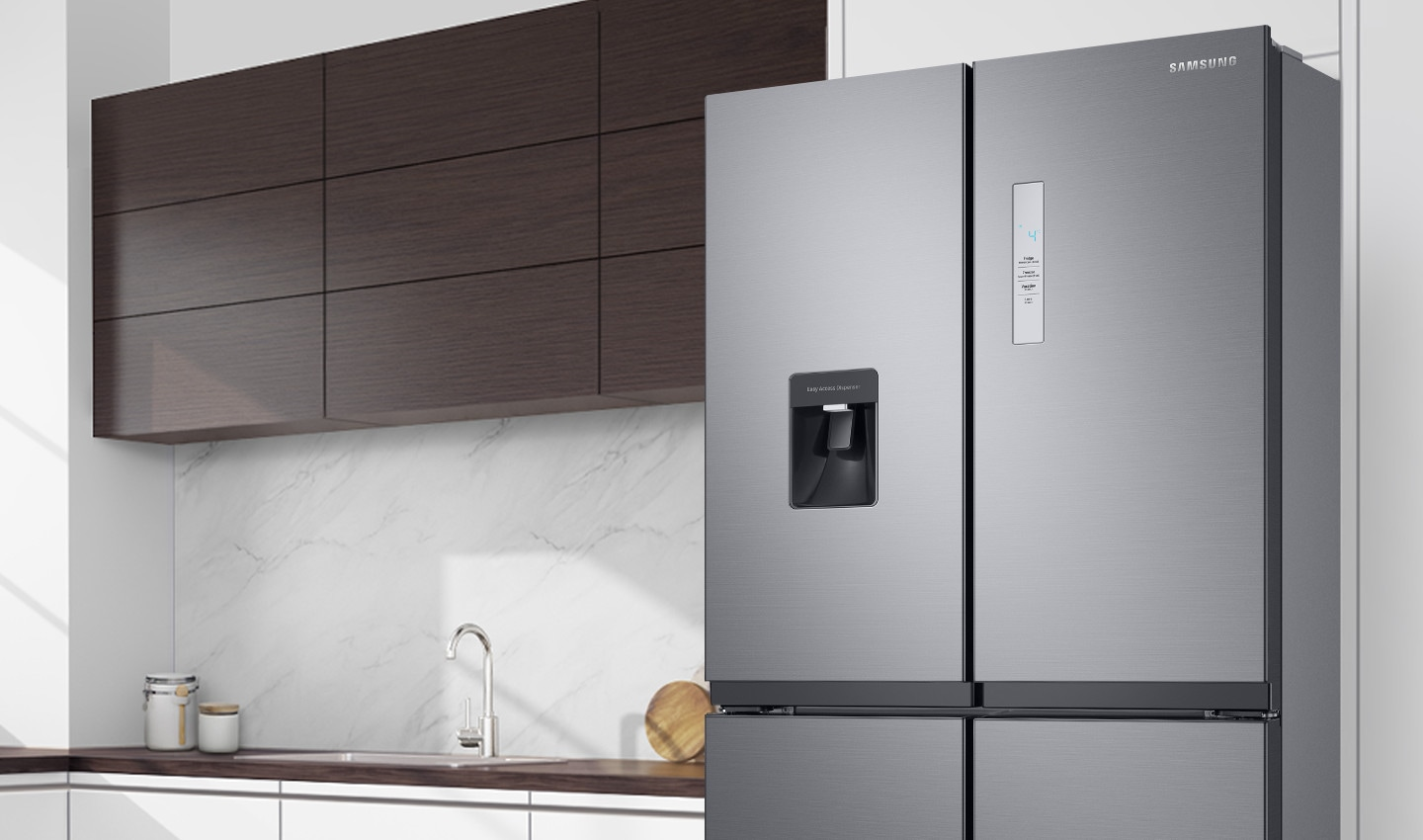 The RF4000TM is installed in the kitchen with minimal handles and a stylish front LED display.