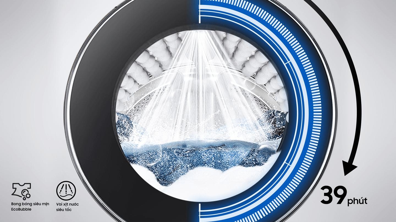 Phía trên cấu trúc bên trong của lồng giặt với công nghệ Q-Bubble, đồ họa kim đồng hồ cho biết giặt tiết kiệm 50% thời gian.
