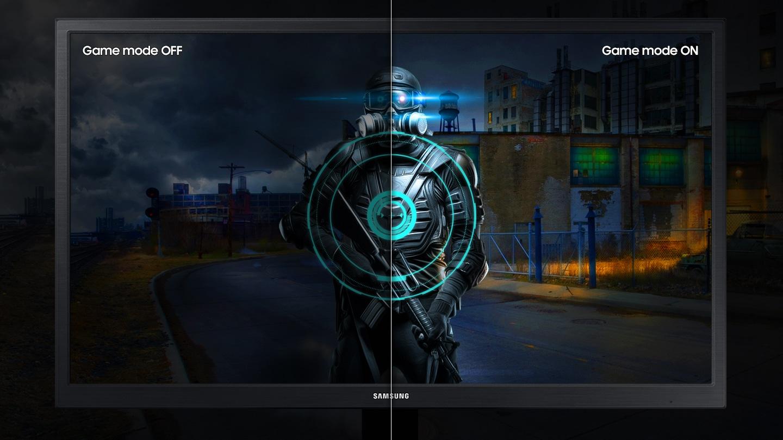 Oyun modu olmayan sol tarafla karşılaştırıldığında, sağ taraf, mod açıkken oyun içeriğinin daha iyi ayrıntılarını gösterir.