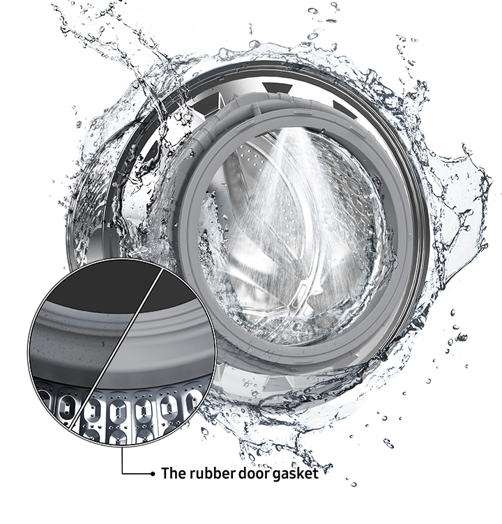 The washer drum is surrounded by clean water and water jets are cleaning the inside. Close-up image of a clean door gasket.