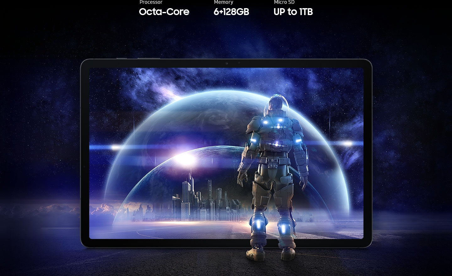 Galaxy Tab S7 FE 5G seen from the front with a futuristic scene from a game onscreen. A person in a spacesuit stands in front of the screen, staring into the scene of glass bubbles surrounding a cityscape. Text says Processor Octa-core, Memory 4 plus 64GB, 6 plus 128GB, MicroSD up to 1TB.