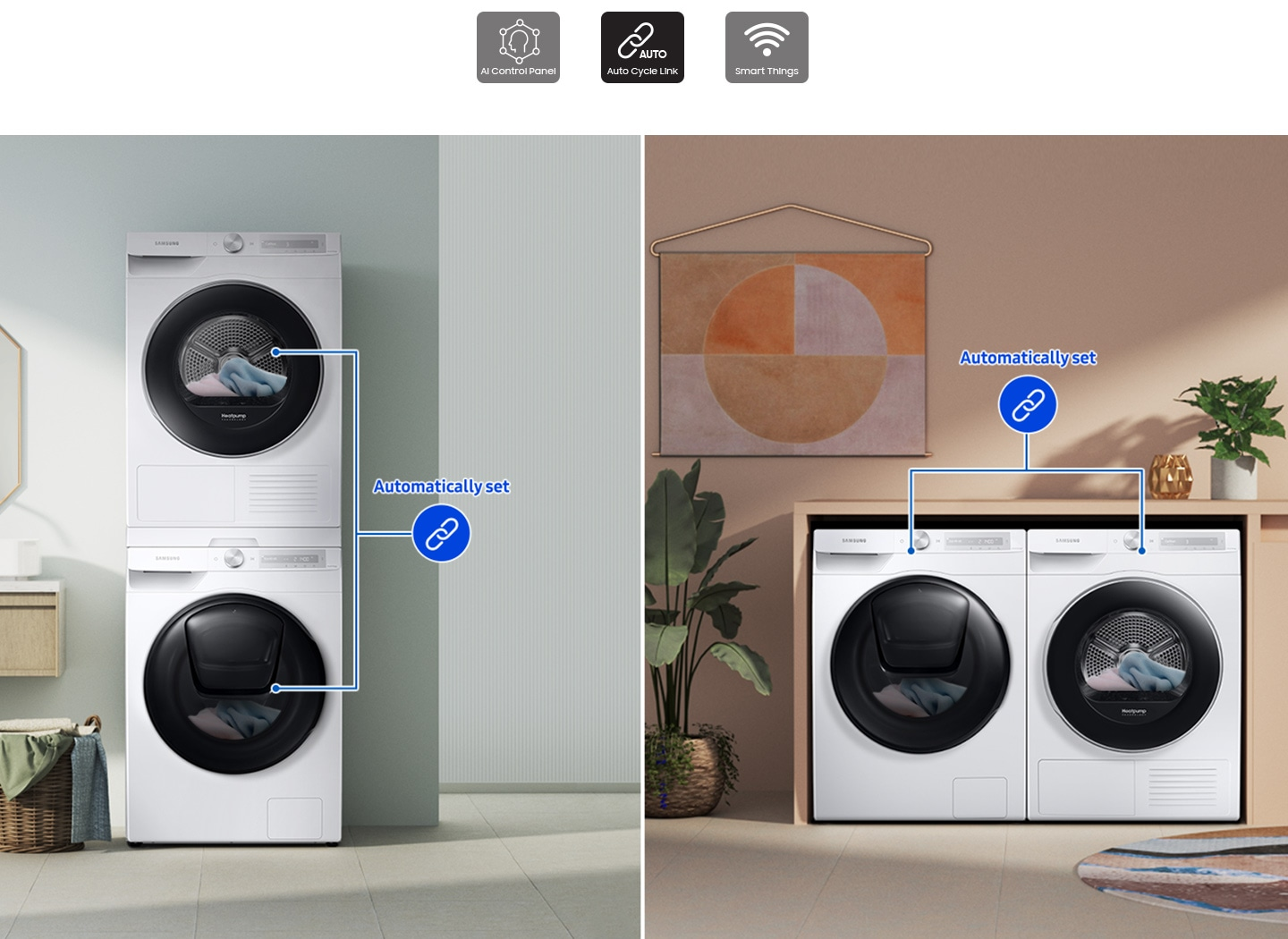 Two sets of washers and dryers are placed differently in two separate living spaces. Each set is linked with a blue line.