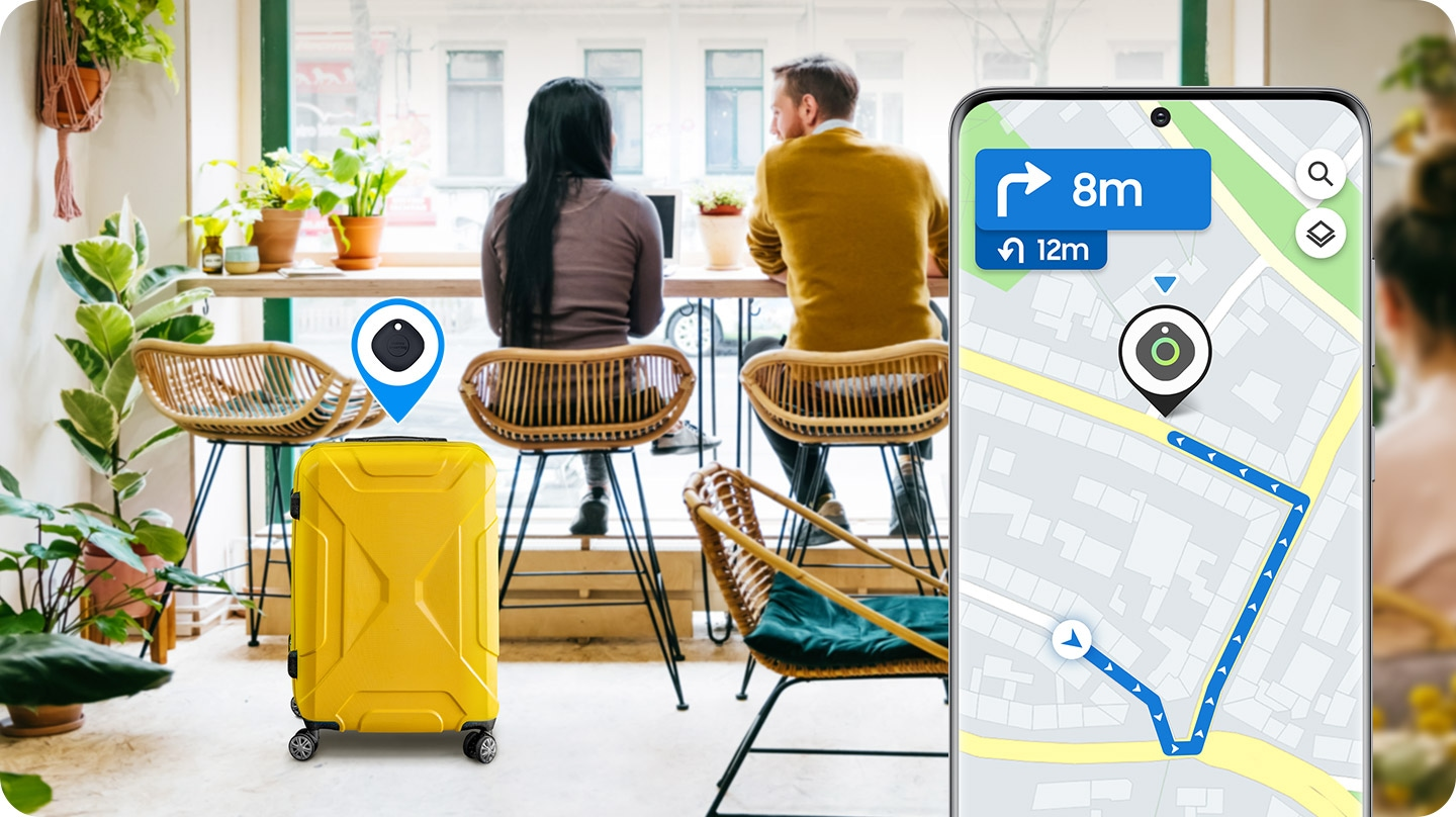 Utilizing Galaxy SmartTag and app, finding lost items is smart and simple. The lost suitcase is now found in a café.