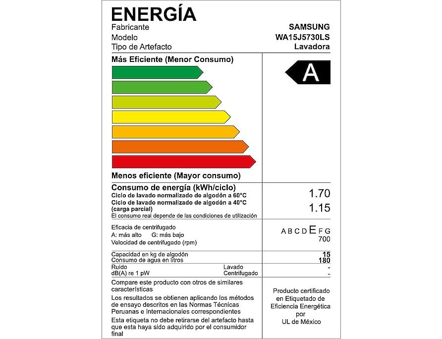 WA15J5730LS/PE energy label