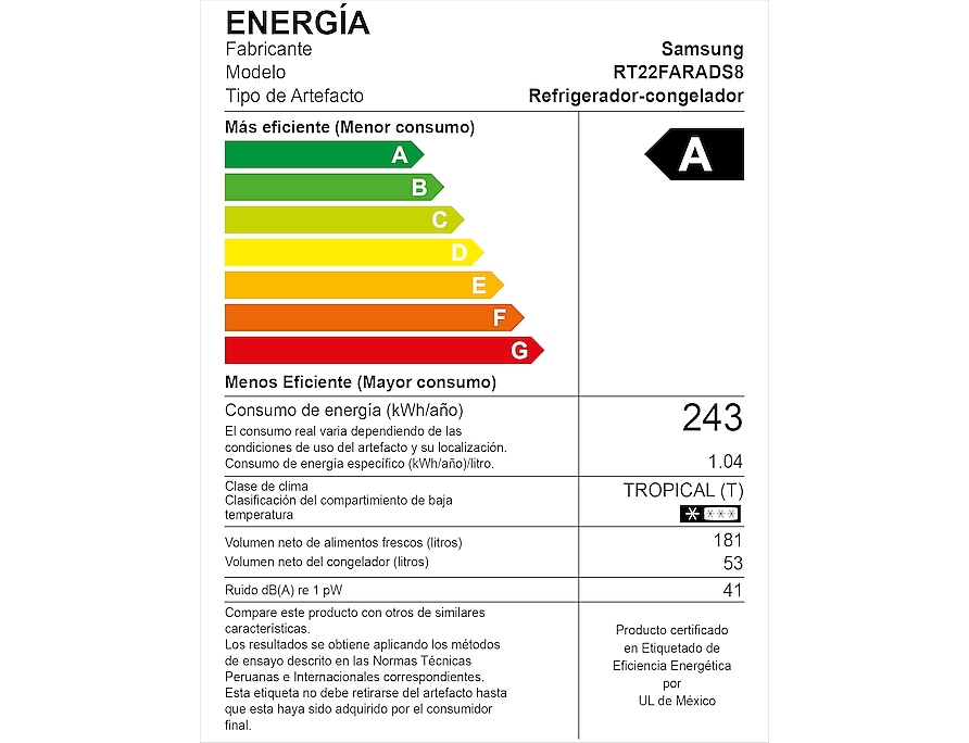 RT22FARADS8/PE energy label