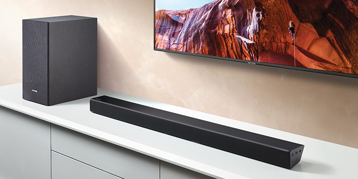 Elevate your TV sound with Powerful bass.