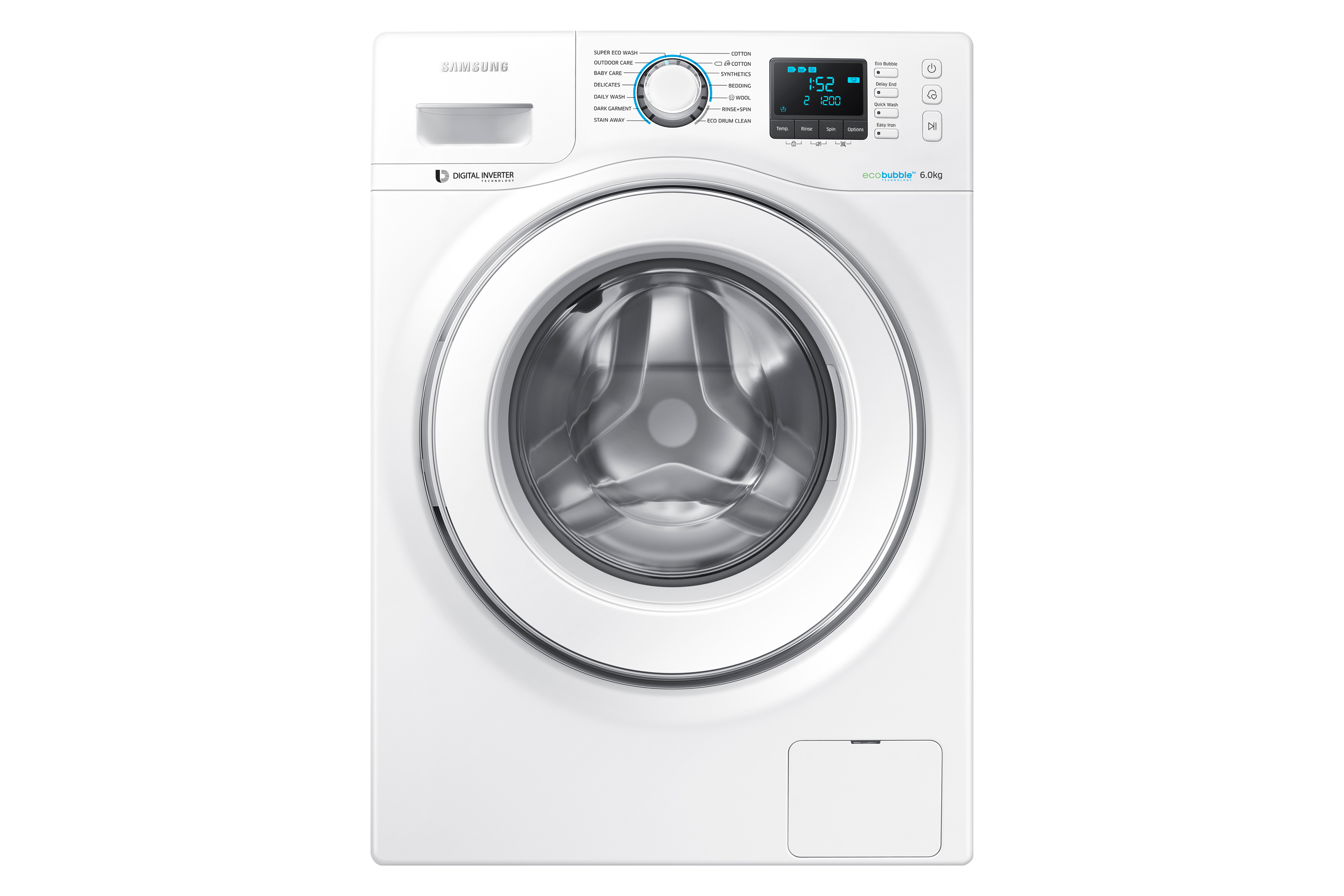WW60H5200EW/TC, Front Load with Eco Bubble Technology 6.0kg
