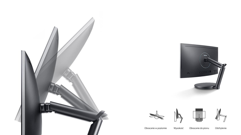 Solidna i ergonomiczna nóżka z podwójnymi zawiasami, aby lepiej ustawić ekran