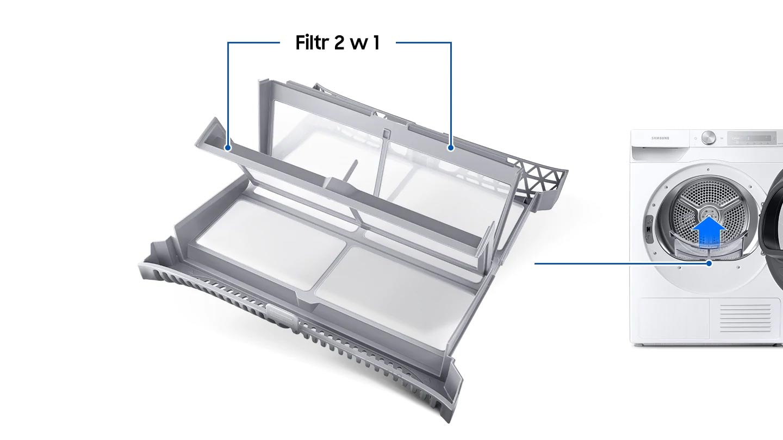Suszarki z pompą ciepła Samsung wyposażone są  w filtr 2w1, który posiada dwuwarstwowy filtr siatkowy, dzięki czemu urządzenie jest łatwiejsze w konserwacji