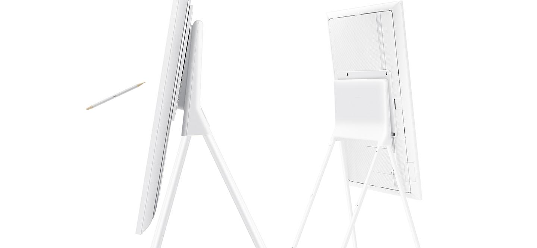 Na nowo zaprojektowany smukły stand zapewnia możliwość ustawienia ekranu Samsung Flip na dowolnej wysokości