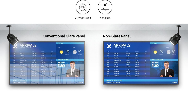 Ekrany reklamowe Samsung QMR posiadają powłokę antyrefleksyjną, która niezależnie od lokalizacji wyświetlacza umożliwia wyrazistą prezentację treści