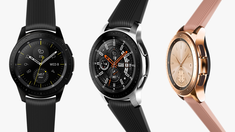 Czarny, srebrny, różowy smartwatch Samsung Galaxy Watch 42 mm