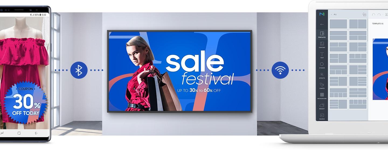 Profesjonalne ekrany reklamowe QHR Samsung z Wi-Fi i Bluetooth dają bogatą paletę możliwości świadczenia usług i ich prezentacji