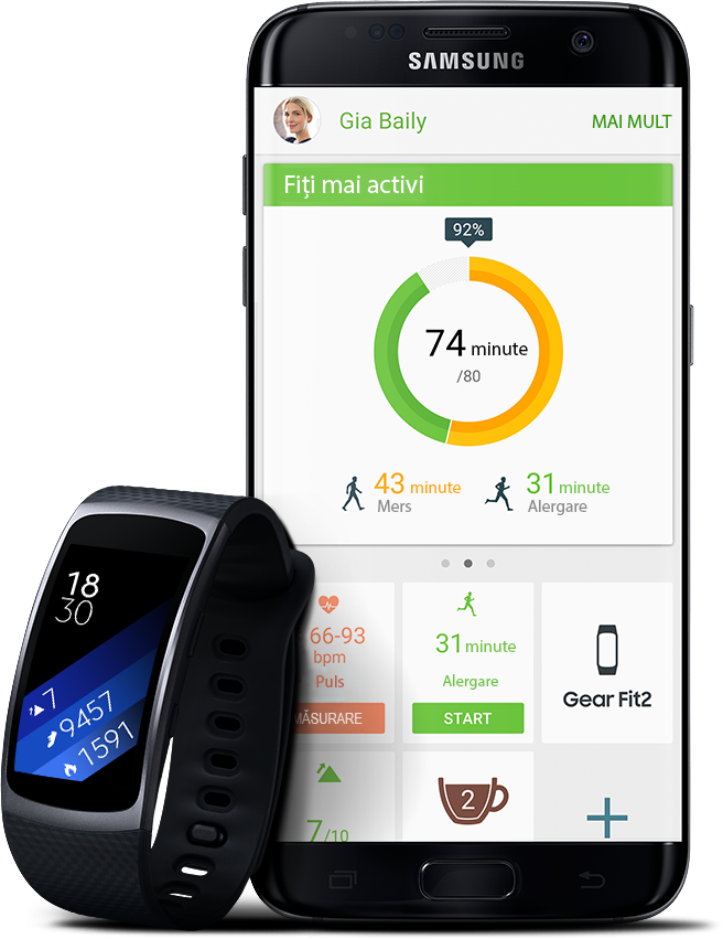 Galaxy S7 Edge alături de Gear Fit2 afișând statistici de fitness și sănătate sincronizate de pe Gear Fit2