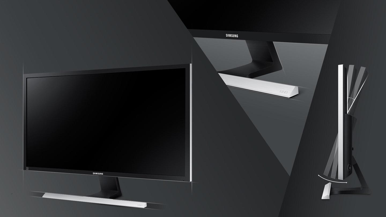 Design sofisticat negru mat și suport în formă de T cu finisaj metalic