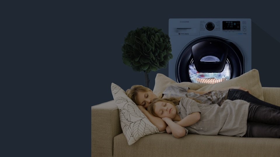 An image showing a mother and a child sleeping on a sofa while the WW7500 is running in the background.