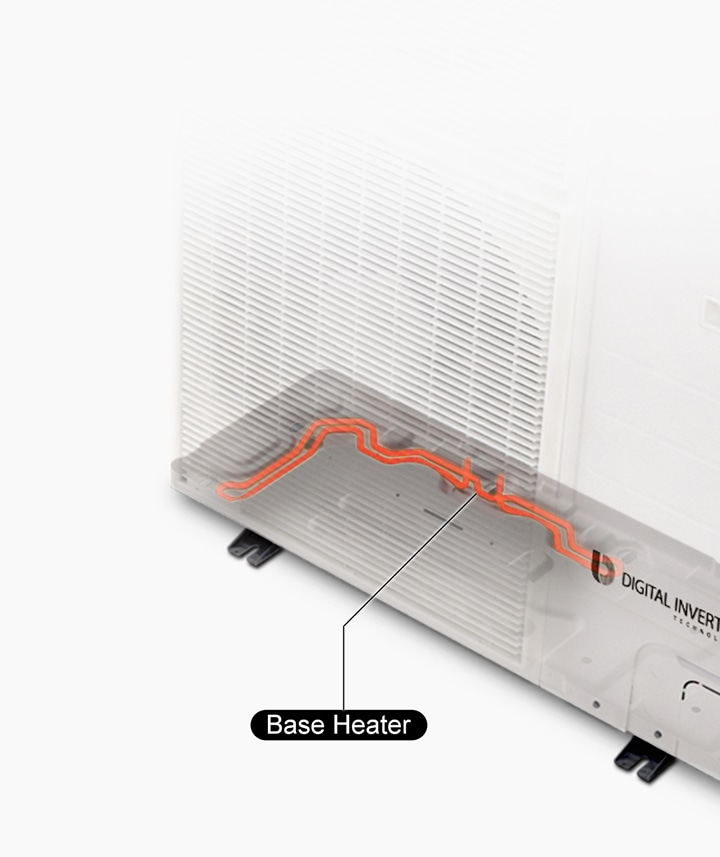 A Base Heater prevents frost build-up