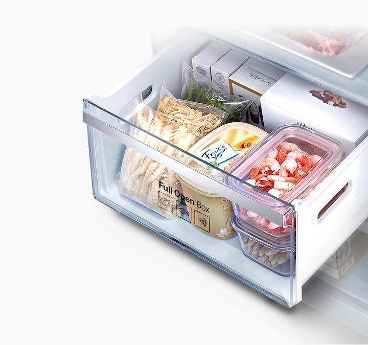 Полностью выдвижной ящик в морозильной камере