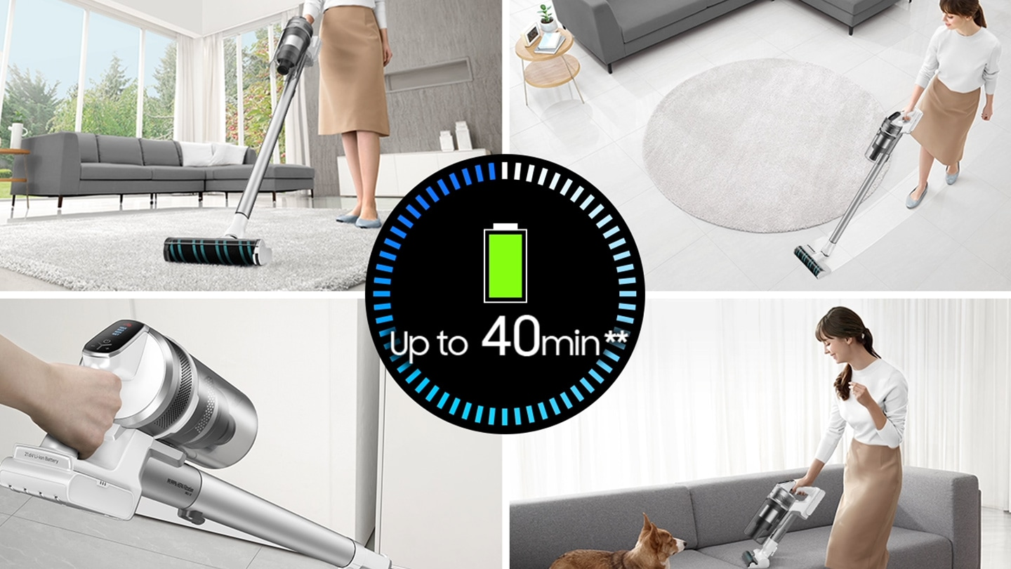 Up to 40 minutes** cleaning