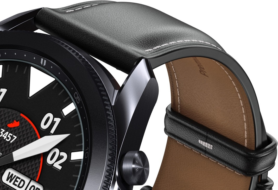 An underside view of the 41mm Galaxy Watch3 in Mystic Bronze and 45mm Galaxy Watch3 in Mystic black, highlighting the premium leather strap.