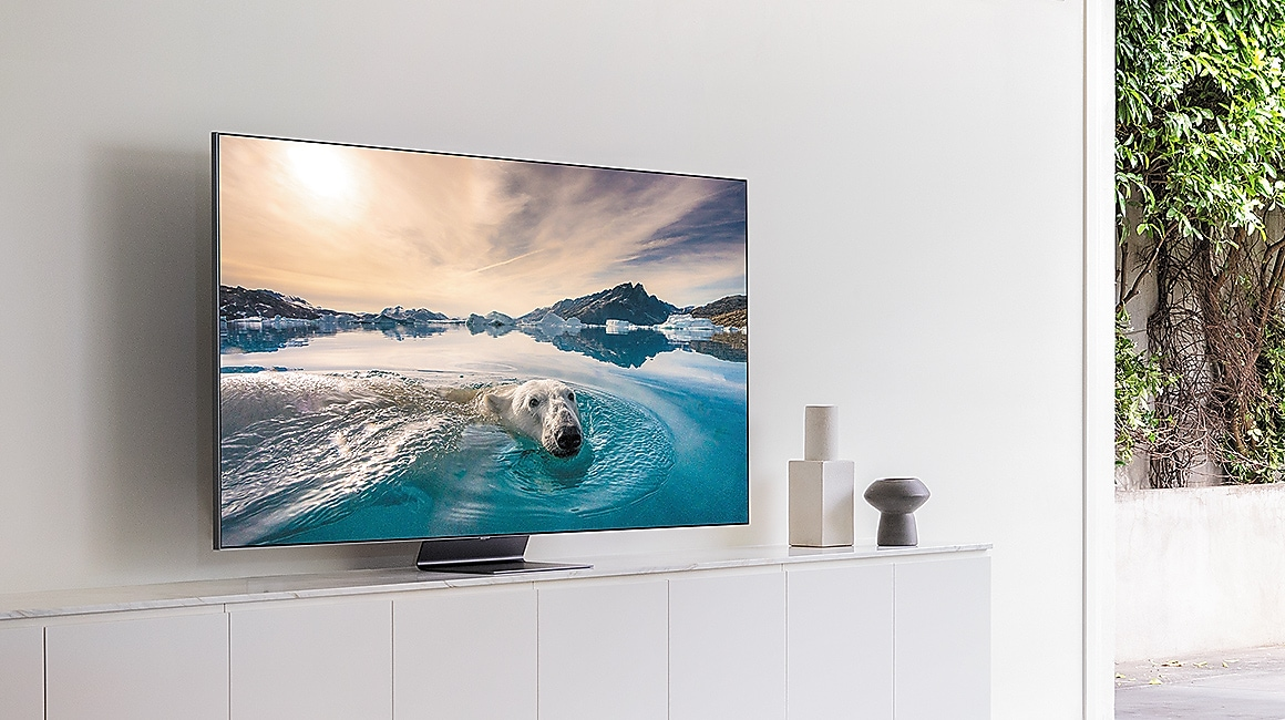 The side view of QLED TV