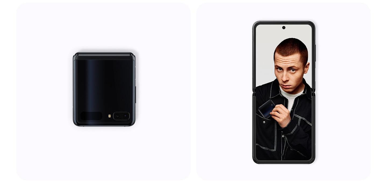 왼쪽에는 접힌 앞면의 갤럭시 Z 플립 미러 블랙 컬러 제품이 보이고, 오른쪽에는 펼친 상태로 남성 사진이 보이는 갤럭시 Z 플립 미러 블랙컬러 제품이 보입니다.