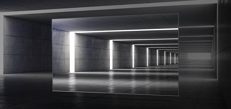 얇은 베젤을 터널 공간을 통해 표현하고 있습니다.