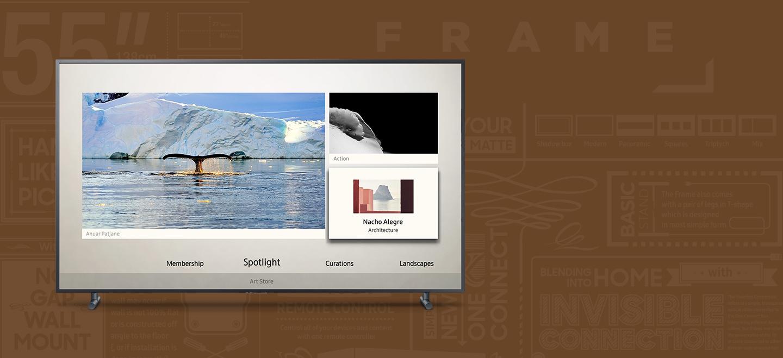 프레임티비 화면 속에 3가지 작품 사진과 함께 아트스토어 콘텐츠를 보여주는 장면입니다