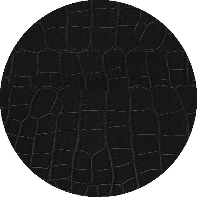 블랙 컬러 엘리게이터 패턴 스트랩 재질을 보여주는 이미지입니다.
