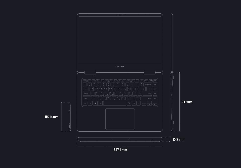 노트북 pen의 제품 규격을 나타내는 도면 이미지입니다. 제품 가로 길이는 347.1 mm, 세로 길이는 239 mm, 두께는 16.9 mm, 펜 길이 116.14mm 입니다.