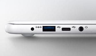 크러쉬 화이트 노트북9이 닫혀진 채로 좌측면이 보여지며 충전, USB,USB 충전,이어폰 포트가 정면으로 보여집니다.