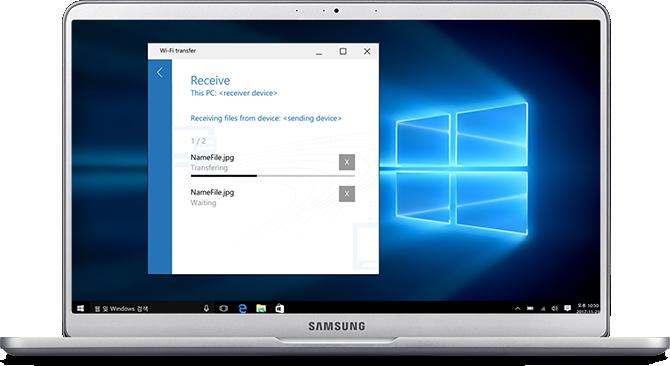 90도로 열린 라이트 티탄 컬러 노트북9의 디스플레이안에는 Wi-Fi Transfer가 실행되어 있는 모습이 보여집니다.