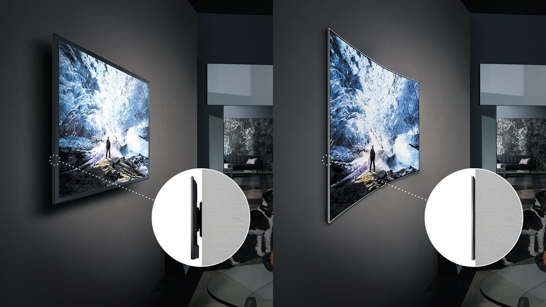 좌측에는 일반 TV의 간격이 넓은 일반 벽걸이 확대 이미지가 보여지고 우측에는 빌트인 한 듯 벽과의 간격이 거의 없는 QLED TV의 밀착 벽걸이 확대 이미지가 보여집니다.