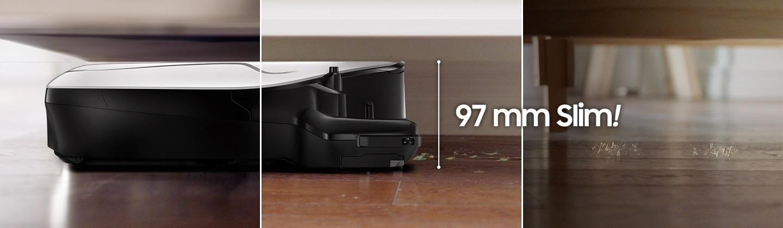 3가지의 소파 밑에 놓인 파워봇 스톰트루퍼 에디션 제품이 보이며, 제품 전면으로 제품의 높이를 뜻하는 97 mm Slim이 보입니다.