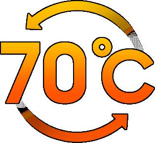 70도 고온 및 고속 회전을  표현하는 아이콘