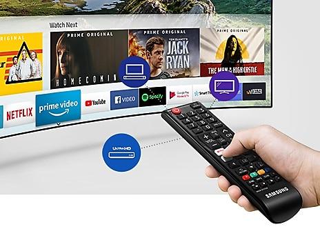 Téléviseur incurvé Samsung avec une expérience à distance
