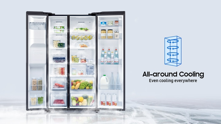 Samsung Side by Side Refrigerator (617L, RS64R53044G) with all-around cooling