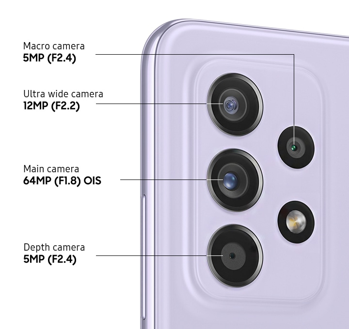 A rear close-up of advanced Quad Camera on the Awesome Violet model, showing F1.8 64MP OIS Main Camera, F2.2 12MP Ultra Wide Camera, F2.4 5MP Depth Camera and F2.4 5MP Macro Camera.