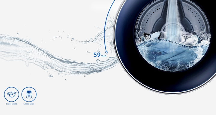 Powerful Cleaning in Less Than an Hour Samsung EcoBubble Front Load Washing Machine – an image showing Powerful Cleaning in Less Than an Hour with Speed Spray