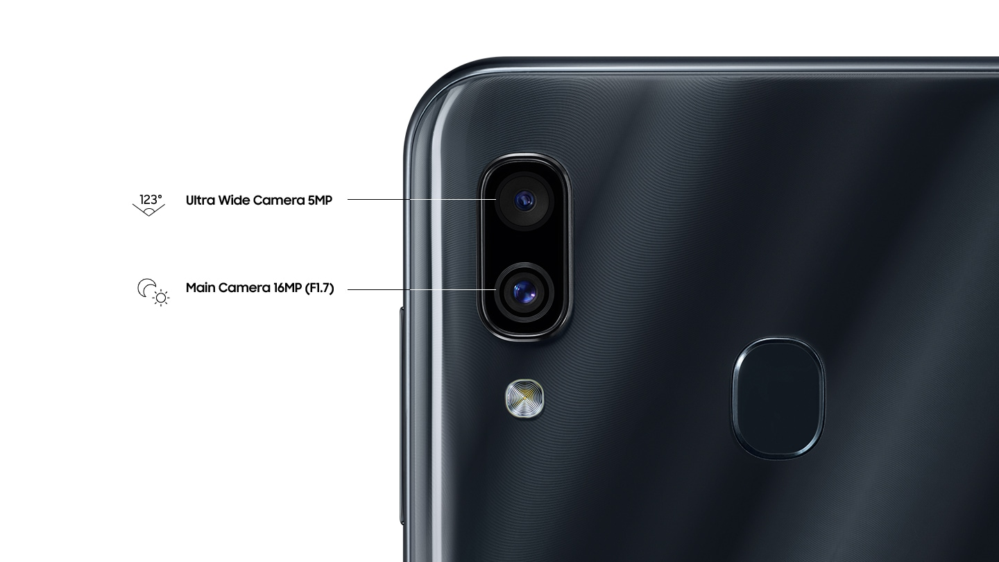 Samsung Galaxy A30 dual camera with ultra wide angle lens