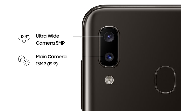 Samsung Galaxy A20 Dual Camera with Ultra Wide Angle Lens